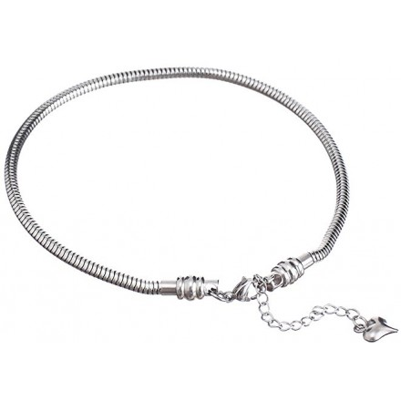 a2cde9c35 Cat Eye Jewels Stainless Steel Snake Chain Starter Charm Bracelet With  Lobster Clasp Fit Pandora Beads For Women or Teen Girls