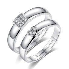 37f2359c5a New Lovely Silver Color Open Adjustable Stainless Steel Couple Rings For  Couple Crystal Heart Square Finger