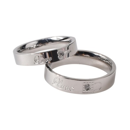 da749b2560 Couples Rings His Hers Wedding Ring Sets Engagement Anniversary Promise  Band Stainless steel Lock & Key-Priced Separate